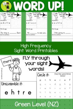 Sight Word Printables for Year One NZ (Green Level)  28 Year One Green level sight words based on the New Zealand curriculum high frequency words.  Sight word recognition improves reading fluency!  The 28 words included in this pack are: across, along, always, around, better, called, catch, could, cried, don't, every, from, long, must, next, other, round, school, slowly, something, still, their, there, under, want, wanted, were and what.