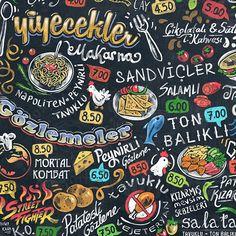 Digital chalk art painted menu design for cafe. Chalk Menu, Blackboard Menu, Chalk Art, Cafe Menu Design, Food Menu Design, Restaurant Design, Chalk Typography, Chalkboard Lettering, Cafe Logo