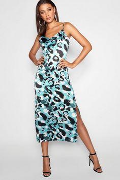 286b5cd2d2f Elegant Tall Leopard Print Satin Midi Dress with side split. New Years Eve  Dresses