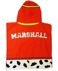 Check out our new range of Paw Patrol towel ponchos! This Paw Patrol Marshall Hooded Poncho Towel is ideal for keeping your child warm and dry after bath time or a swim. You can even use it to get changed under when in a public place like the beach. It is designed to look just like Marshall's red firefighter jacket, with Marshall written on the back.