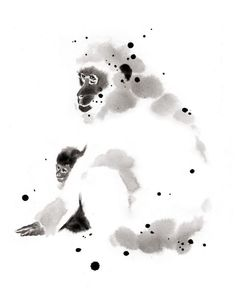 Pavian Monkey painted in Sumi-e by Cyril Blondea, painter and web designer from Paris Sumi E Painting, Japan Painting, Artist Painting, Monkey Drawing, Monkey Art, Japanese Monkey, Japanese Art, Korean Art, Asian Art