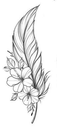 Flower Tattoo Drawings, Tattoo Design Drawings, Art Drawings Sketches, Flower Tattoos, Lilly Flower Tattoo, Pencil Drawings Of Flowers, Up Tattoos, Feather Tattoos, Body Art Tattoos