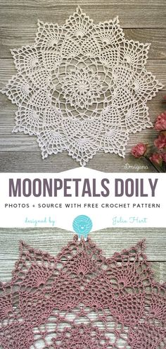 Moonpetals Doily Free Crochet Pattern - - When it comes to classic crochet designs, doilies are a category that doesn't cease to amaze me everytime I see new creation. Moonpetals Doily is delicate. Crochet Simple, Crochet Diy, Thread Crochet, Crochet Crafts, Diy Crochet Doilies, Doilies Crafts, Crochet Flowers, Free Crochet Doily Patterns, Crochet Coaster Pattern