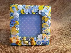 Baby Boy Themed Button Picture Frame by ButtonsGoneWild on Etsy