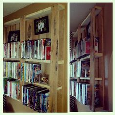 Pallet dvd storage shelf.been looking for a cool idea for my dvd storage. I see a pallet look tomorrow.