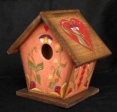 handpainted birdhouses | Red Hearts at Home Hand Painted Birdhouse by KrugsStudio on Etsy