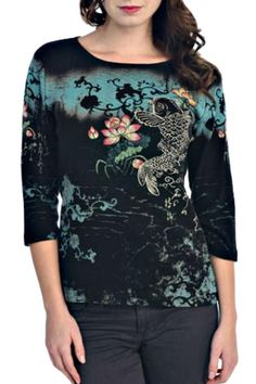 This top has 3/4 sleeves, a relaxed round neck and an easy t-shirt fit and style. The cotton fabric is soft and stretchy and the koi pond print is very pretty with the Swarovski crystal stones. So wearable!   Koi Pond Tee by Katina Marie. Clothing - Tops - Long Sleeve Clothing - Tops - Casual California