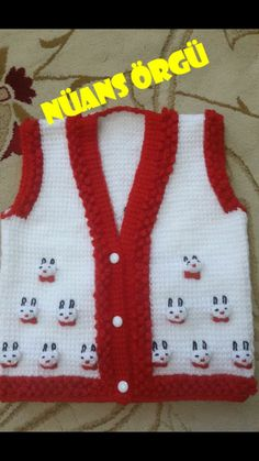 Yelek modelim Crochet For Kids, Diy Crochet, Sewing For Kids, Crochet Baby, Baby Knitting Patterns, Doll Patterns, Baby Boy Vest, Baby Coat, Tricot