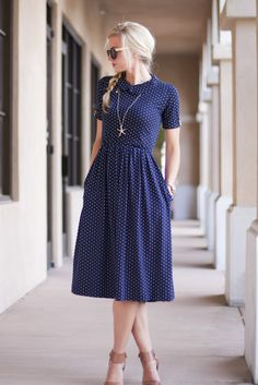 Dress in navy pin dot fabric. I like the cute neck and sleeves on this. Length is exact what I want. Spring Sewing Trends: 8 Ideas for Sewing Your Own Wardrobe