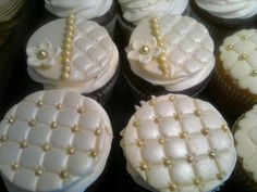 Ivory and gold cupcakes
