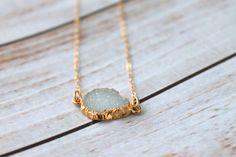 Petite White Druzy Gold Filled Necklace   Dainty Druzy Necklace