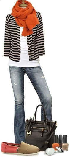 black and white striped jacket and jeans and oj scarf.