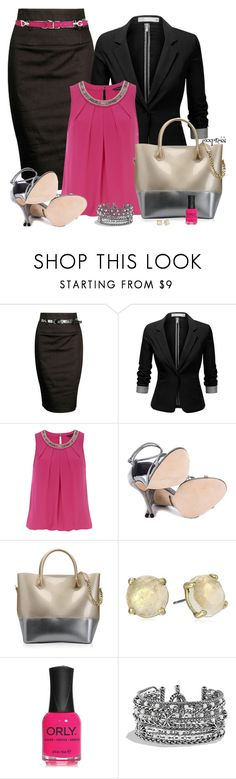 """Pop of Color"" by exxpress ❤ liked on Polyvore featuring Forever 21, J.TOMSON, Dorothy Perkins, Badgley Mischka, Kartell, Lucky Brand, ORLY, David Yurman, Dolce&Gabbana and pencilskirt"