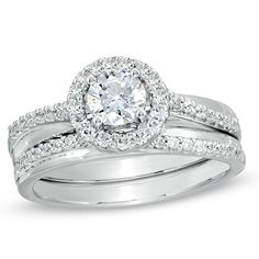 7/8 CT. T.W. Diamond Frame Bridal Set in 14K White Gold