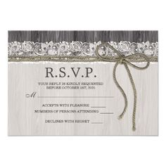 These beautiful rustic wedding table number cards with lace and twine on charcoal gray wood are ideal for country and rustic style weddings. #Rustic #Wedding #RSVP