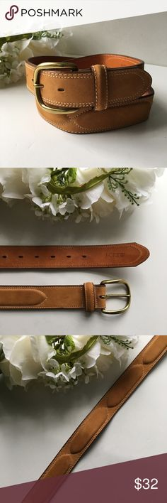 J. Crew // Tan Leather Stitched Design Belt sz 34 The classic leather belt gets a Stitched embellishment. From j. Crew. Tan leather material. Raised Stitched design. Size 34 waist. Style 25092. In Great condition, a few shallow scratches. J. Crew Accessories Belts