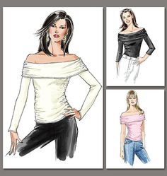Misses' Top - Off shoulder, could be dressed up or down depending on fabric.