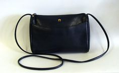 Etienne Aigner Navy Blue Leather Shoulder Bag by browneyeddaisy,
