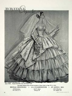 1956 Ad for a Bridal Originals Wedding Dress, featuring Chantilly Lace and Ruffles