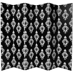 Tall Double Sided Black And White Damask Canvas Room Divider 6 Panel - Oriental Furniture Folding Screen Room Divider, 4 Panel Room Divider, Oriental Furniture, White Damask, Pattern Paper, Paper Patterns, Fabric Covered, Art Decor, Bloomsbury