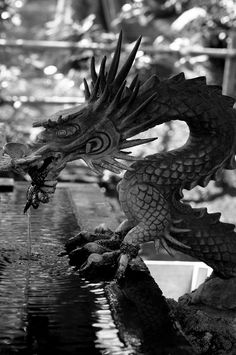 Dragon fountain - Tattoo Thinks Dragon Z, Water Dragon, Year Of The Dragon, Chinese Dragon, Japan, Garden Art, Garden Ponds, Koi Ponds, Garden Design