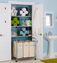 Utilize Unused Space-  Utilize Unused Space    Bathroom doors are filled with often-ignored storage potential. Get more out of the back of a linen closet door by hanging bath towels and other linens from towel hooks or rods after use. The hooks will keep wet towels from collecting on the bathroom floor while keeping them within reach of the sink or shower.
