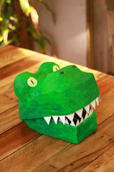 Paper Mache Dinosaur Mask from egg carton??