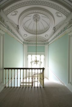 .beautiful wall color, beautiful ceiling millwork!