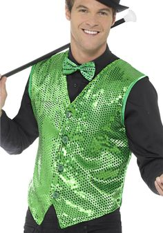 You can buy dazzling sequin waistcoat to look great in costume parties from the Halloween Spot. This waistcoat made of polyester & available in various colours. Halloween Fancy Dress, Halloween Kostüm, Jojo Siwa Music Videos, Men's Waistcoat, Disco Shirt, Halloween Costume Accessories, Green Dress, Charleston, Sequins