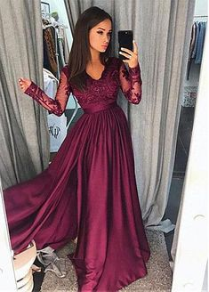 107.79  Chic Satin Chiffon V-neck Neckline Long Sleeves A-line Prom Dress  With Beaded Lace Appliques 2decaef22