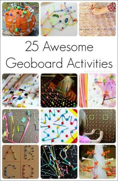 25 awesomely unique geoboards and geoboard activities for kids to try! They allow children to explore a variety of math concepts in a very hands-on way. Early Learning Activities, Fine Motor Activities For Kids, Math For Kids, Stem Activities, Fun Math, Toddler Activities, Kids Learning, Crafts For Kids, Toddler Fun