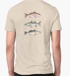"""Inshore Slam Watercolor"" T-Shirts & Hoodies by Amber Marine | ••• AmberMarineArt.com • #Redfish #Snook #Trout"