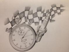 Racing flag Tattoo drawing Timer