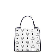 MCM Mini Corina Visetos Shoulder Bag In White