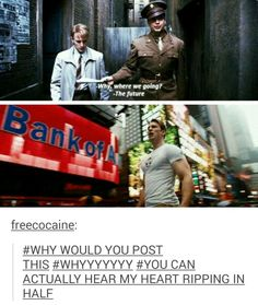 """""""Where're we going?"""" """"The future.""""-- very subtle, Marvel. --- On a happier note, Bank of America is there next to Steve. Bank of Captain America. Dc Memes, Marvel Memes, Marvel Dc Comics, Marvel Avengers, Stucky, Fandoms, Tom Holland, Newt Thomas, Hulk"""