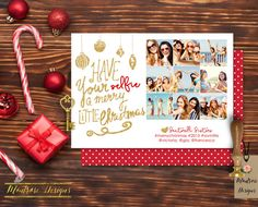 Have Your #Selfie A Merry Little Christmas Photo Greeting Card (White, Gold Glitter, Red, Heart) DIGITAL FILE