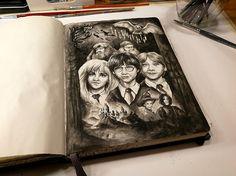 Harry Potter final #HarryPotter #ink #акварель #aquarelle #drawing #art #artist #artwork #painting #illustration #watercolor #aquarela #gemälde #sketchbook #skizzenbuch #creative #picture #Kunst #watercolor