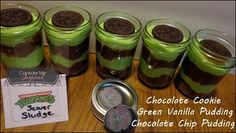 Sewer Sludge - green vanilla pudding, chocolate pudding, oreos on top
