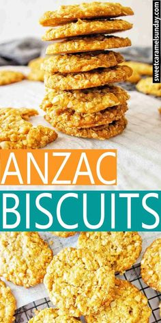 Chewy Anzac Biscuits made from an easy recipe with step by step photos and instructions. Made for soldiers in the World War across Australia and New Zealand. Oats Recipes, Sweet Recipes, Baking Recipes, Cookie Recipes, Dessert Recipes, Delicious Recipes, Scone Recipes, Healthy Recipes, Delicious Dishes