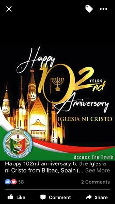 Happy 102nd INC Iglesia Ni Cristo Anniversary  All Praise and Glory to Our God