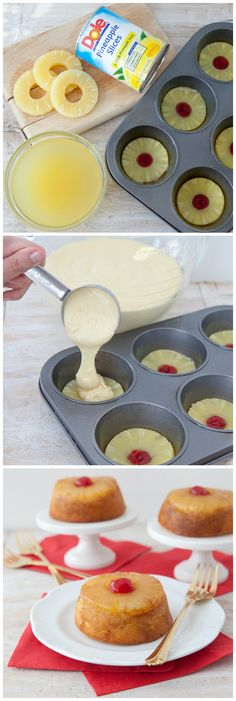 mini upside down pineapple cakes melt ¼ cup of butter and 2/3 cup of sugar pineapple slices or chunks, 2/3 cup of sugar, 2 eggs, 4 tbsp. of pineapple juice 2/3 cup of flour, 1 tsp of baking powder and ¼ tsp of salt bake 20-25 minutes at 350°F.