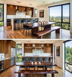 The kitchen and dining area share the same room in this home, making it easy to interact with guests and family when preparing dinner.
