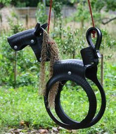 Fabulous DIY Patio and Garden tSwings - tire pony swingYou can find Tire swings and more on our website.Fabulous DIY Patio and Garden tSwings - tire pony swing Tire Horse Swing, Tire Swings, Garden Swings, Saddle Swing, Diy Tyre Swing, Patio Swing, Tire Craft, Tyres Recycle, Reuse Recycle