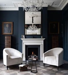 Blue Living Room Decor - Should all rooms in house be same color? Blue Living Room Decor - What color couch goes with blue walls? Modern White Living Room, Dark Living Rooms, Transitional Living Rooms, Home And Living, Living Spaces, Victorian Living Room, Modern Victorian, Modern Gothic, Victorian Terrace
