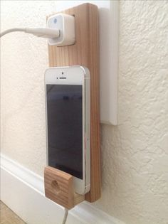 Make money from home wooden iphone holder wall socket - Phone charging furniture the future in your home ...