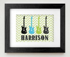 ROCK GUITAR Personalized Printable Art in Teal by PrintasticDesign, $5.00