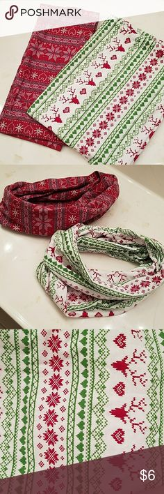 2 holiday theme infinity scarfs Infinity scarfs - holiday theme Accessories Scarves & Wraps