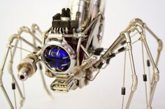 Sapphire Explorer - recycled electronics insectoid alien sculpture by Tamsin Rose