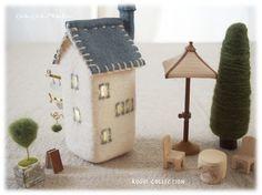 家ランプLサイズ パラソルセット リネン屋根ブルー