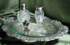 Vintage Silver Tray and Ralph Lauren Perfume bottles